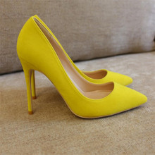 Free shipping fashion women Pumps Yellow flock Pointy toe high heels shoes size33-43 12cm 10cm 8cm party shoes Stiletto heeled