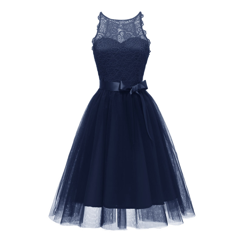 Sweet pretty Lace Round collar evening Dress Party formal dress Sexy bowknot Prom Dresses elegant Hollow out evening gown
