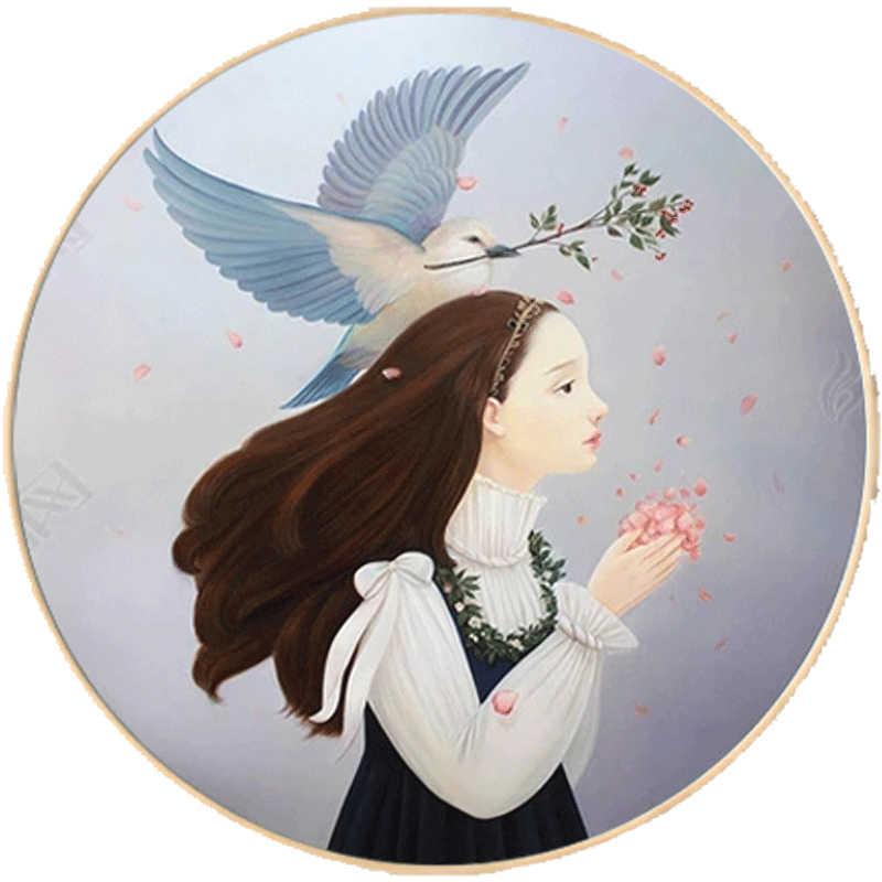 Novo bordado, dmc cor cheia bordado kit, pomba dos desenhos animados anjo meninas sonho pintado padrão ponto cruz crianças presente