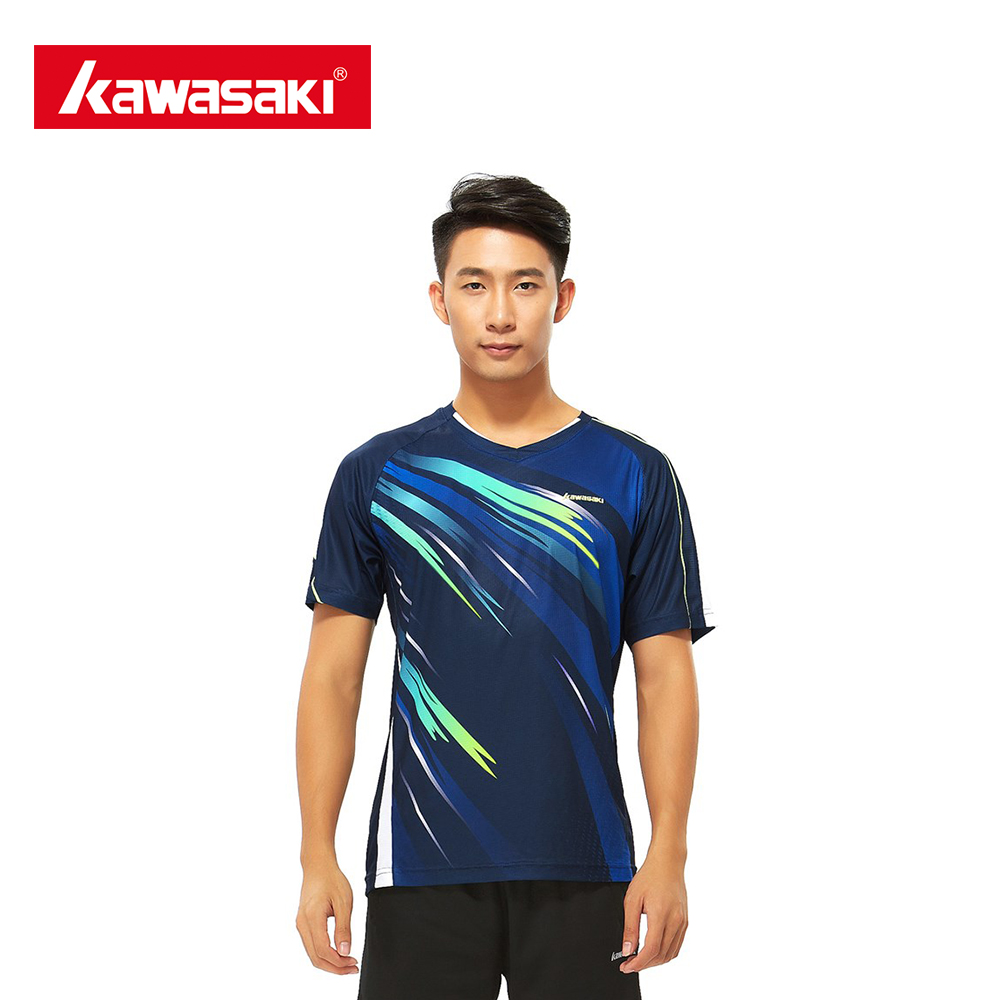 Kawasaki ST-171004 Summer Men Sporting Shirts Badminton Shirts Super Light Fabric Short-sleeved For Male Outdoor Sporting Shirts