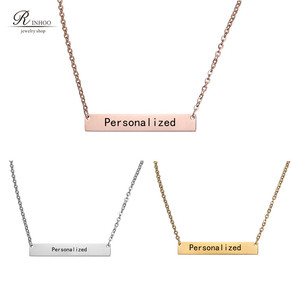 Personalized Blank Bar Pendant Necklace 3 Colors Stainless Steel Customized Name Plate Necklace Can Engrave Word Letters Jewelry