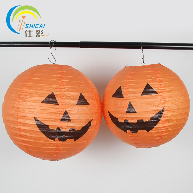 1pcs free shipping pumpkin lantern paper light halloween party 1pcs free shipping pumpkin lantern paper light halloween party activities jack lantern bar home decoration lamp party supplies in lanterns from home aloadofball Image collections