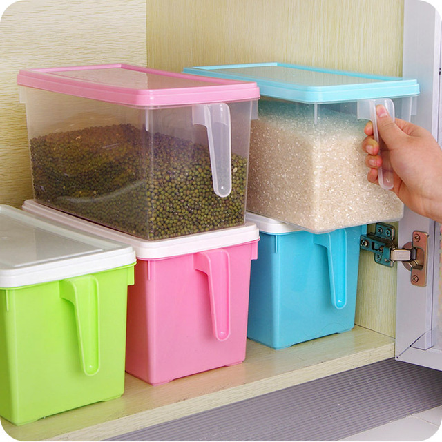 Piles cuisine tra neau avec poign e r cipient en plastique scell case r frig rateur armoires de - Boite plastique cuisine ...