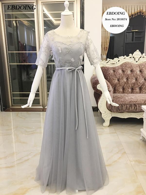 Robe de soiree Stunning Silver gray A-line   Evening     Dress   Scoop Neckline Vestidos de festa With Embroidery Formal   Dresses