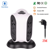 Gorelax Power Strip Cube Outlet with USB Surge Protector with 6 AC Outlets Dual 2.1A USB Ports Tower Electrical Socket EU Plug