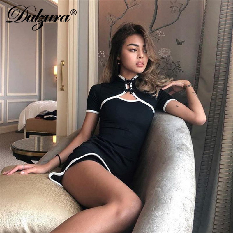 Detail Feedback Questions about Dulzura hollow out bodycon short sleeve  mini dress 2018 autumn winter clothes women sexy party dresses on  Aliexpress.com ... 65d483261b09