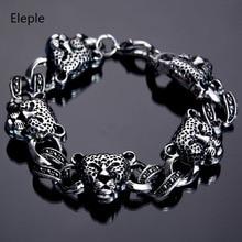 Eleple Retro Punk Leopard-print Skull Male Bracelets Titanium Stainless Steel Men Animal Bracelet Gifts Jewelry Wholesale S-B95