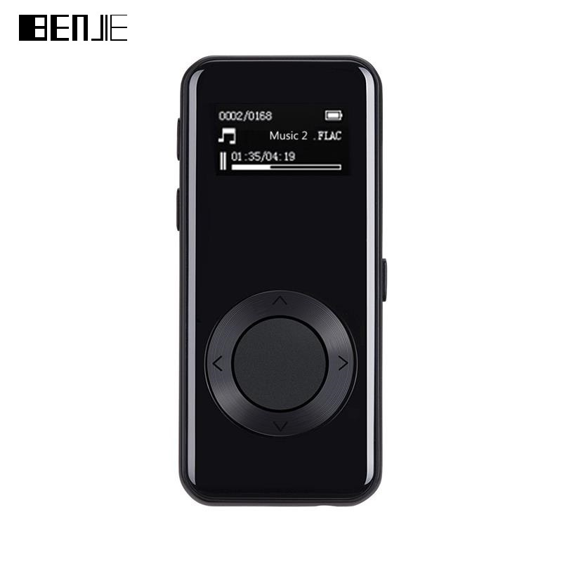 BENJIE MP3 Player 7.1mm Thin Music Player Mini Stereo 3D Sound FM Recording E-Book Full Metal 8GB Sport MP3 with Earphone