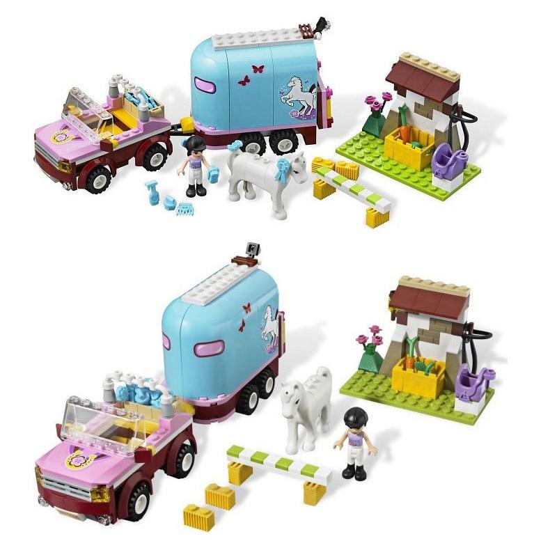 Bela 10161フレンズ女の子のためのエマ馬トレーラービルディングブロックセットギフトのおもちゃ互換legoinglyフレンズ3186馬の農場
