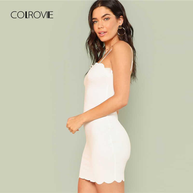 COLROVIE облегающее мини-белое платье 2018 летнее Короткое облегающее платье без рукавов на бретельках простое женское платье