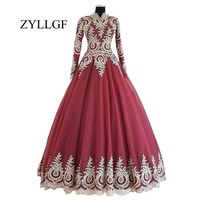 ZYLLGF Long Sleeve Brides Mother Dresses For Weddings Ball Gown High Collar Plus Size Party Dress For Mother Of The Bride LFB26