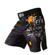 Mens fitness shorts fights MMA Muay Thai boxeo kickboxing Skull trunks grappling Sanda sport pants(China)