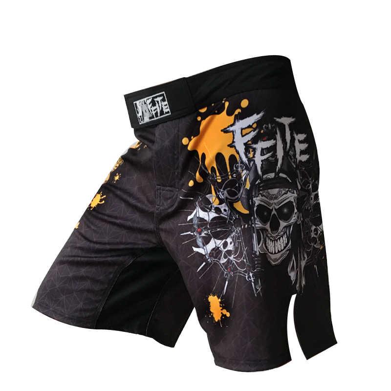 Mens calções de ginástica boxeo MMA Muay Thai luta grappling Sanda kickboxing troncos Do Crânio calça esporte