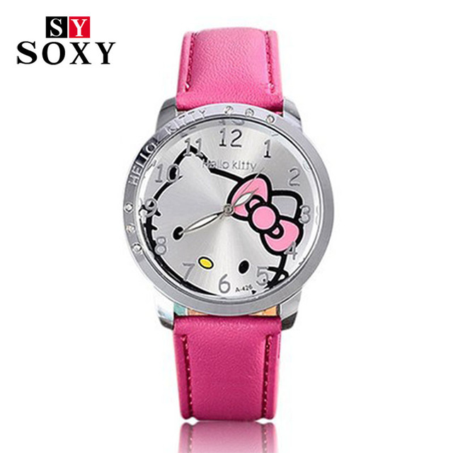 c326763af Cartoon Watch Fashion Brand Hello Kitty Quartz Watch Children Girl Women  Leather Crystal Wrist Watch Kids Wristwatch Clock 2018