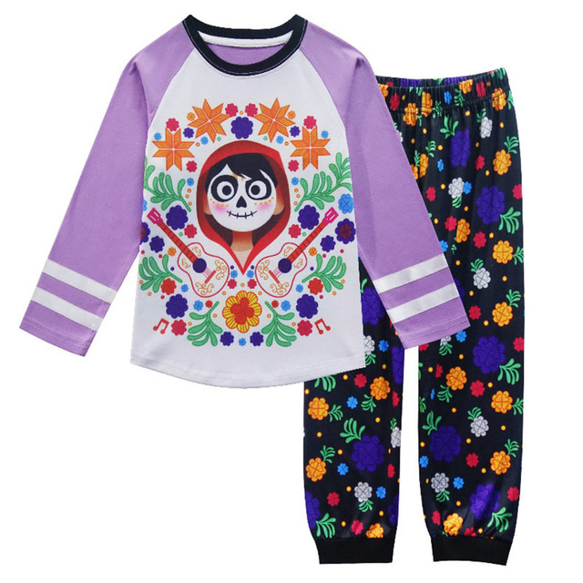 40659f662 Spring and Autumn Coco Baby Girls Pajamas Set Flower Print Long ...