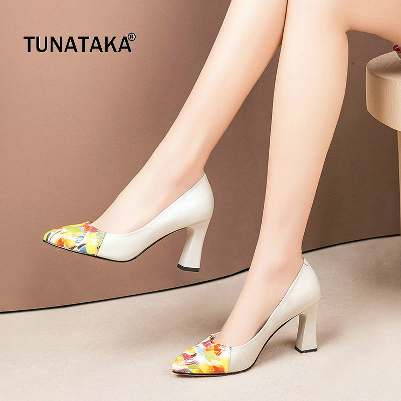 Genuine Leather High Heels Mix Color Women Pumps Fashion Pointed Toe Dress Lazy Ladies High Heel