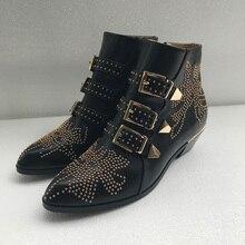 Новые модные дамские ботильоны золотыми блестками обувь черный женская обувь с острым носком квадратный каблук с пряжкой армейские ботинки Для женщин s размер 41