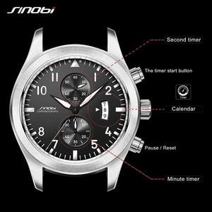 Image 2 - SINOBI męskie chronograf sport zegarki mężczyźni skórzany wojskowy zegarek luksusowej marki zegarek kwarcowy męski na rękę Relogio Masculino
