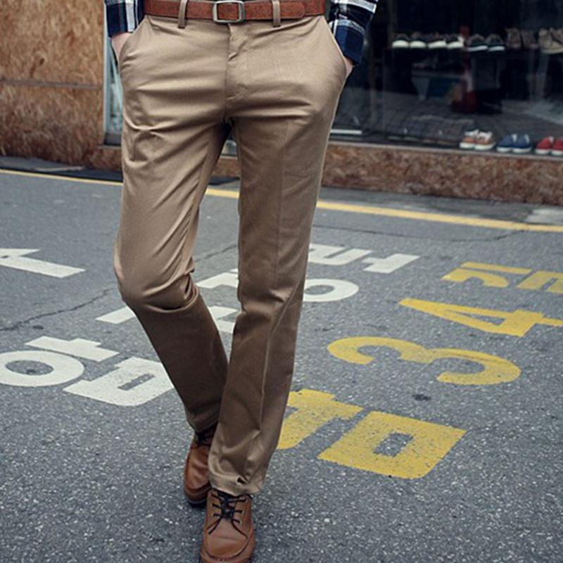 Casual Suit Pants Slim Fit trousers Cotton Pure Color Straight Type Long Pants Medium Waist western-style trousers