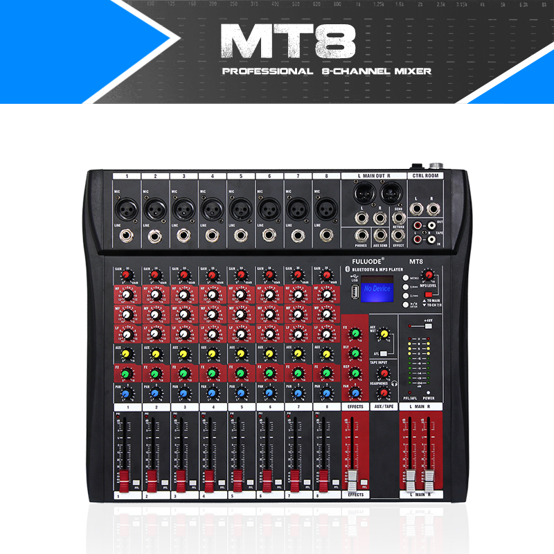 Fuluode 8 Channel Professional Mixer With power amplifier and reverberation function Support Bluetooth USB playback stage