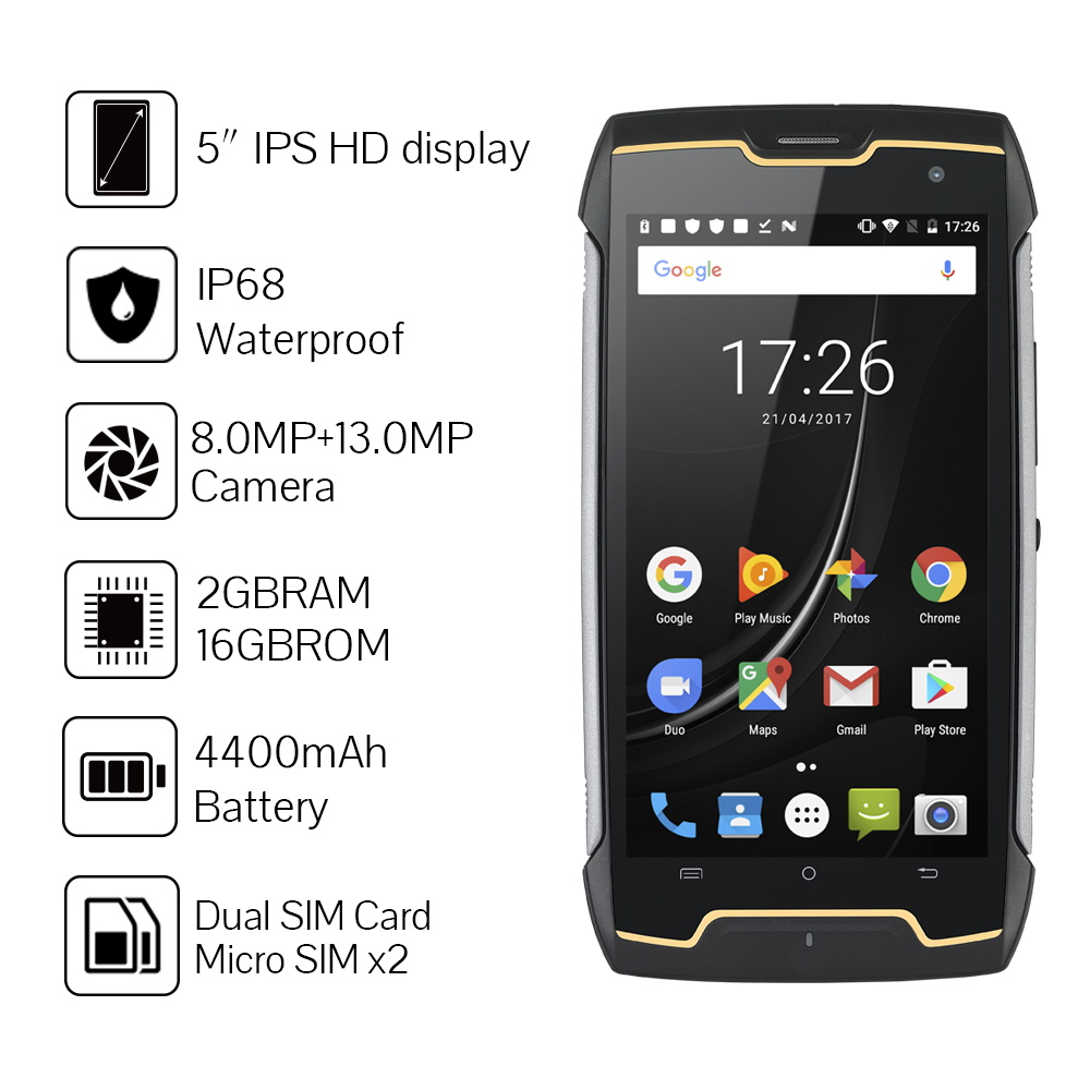 Image 4 - Cubot KingKong IP68 Rugged Phones 4400mAh Big Battery Waterproof Smartphone 3G Dual SIM Android 7.0 2GB+16GB Compass+GPS MT6580Cellphones   -