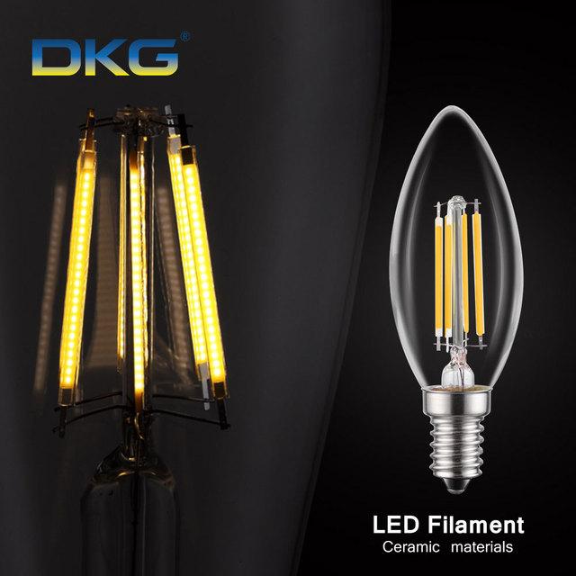 Led Filament Candle Bulbs C35 E14 Led Bulb Dimmable 220V 2W 4W 6W Led Bulb E12 110v Retro Edison Lamp Warm White / Cold White
