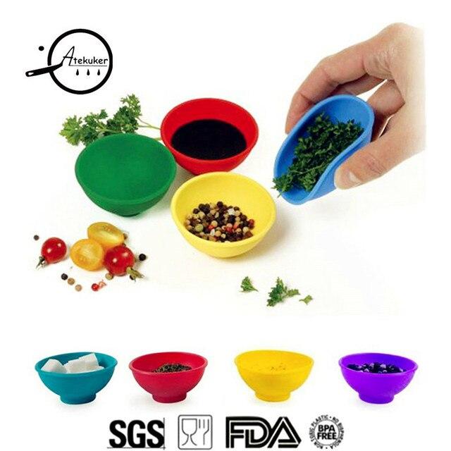 Atekuker Mini Silicone Bowl For Salt Sauce Sugar Butter Cream Dressing Mayonnaise Salad Dinnerware Set Kitchen Tools Accessories
