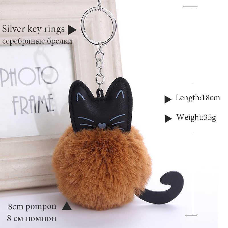 Chaveiro gato chaveiro Pompom Fofo Artificial Chave Anéis De Bola de Pele De Coelho Mulheres Saco titular Carro Pingente Charme pom pom porte clef