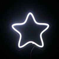 CHIBUY LED Neon Star Light Star Night Lamp PVC Neon Sign Bright White Star Wall Light