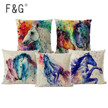 цены Homing Animal Horse Cushion Covers Cotton Linen Watercolor Pillow Case Chair Seat and Waist Square Pillow Cover Home Decoration