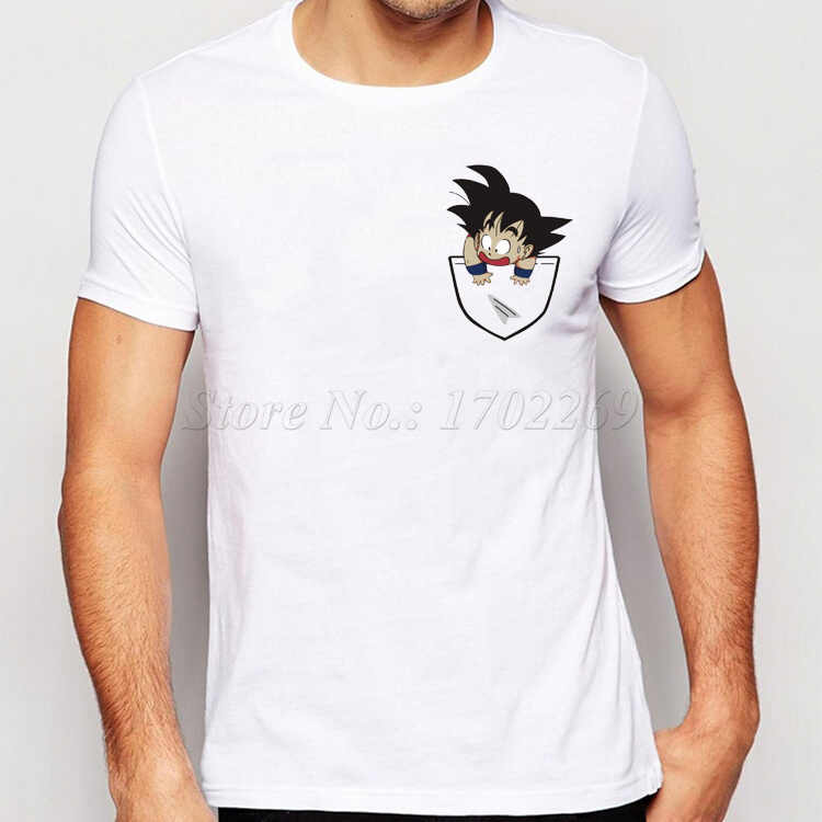 2018 Новая мода Сон Гоку в кармане Дизайн Для мужчин футболка творческий простой Повседневное мужской основной Топы корректирующие короткий рукав личность Ти