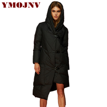 YMOJNV Brand Design 2017 New Winter Down Jacket Women Trendy Irregular Length Hooded Black Down Parka Female Fashion Snow Wear