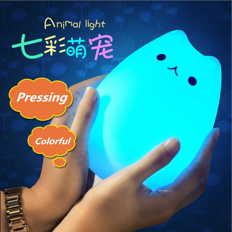 Silicone Touch Sensor LED Night Light Soft Cartoon For Children Baby Kids Nursery lamp 7 Colors 2 modes Cat USB LED Night Lamp 7 color changing rabbit led night light silicone touch sensor tap control nightlight remote controller for kids children baby