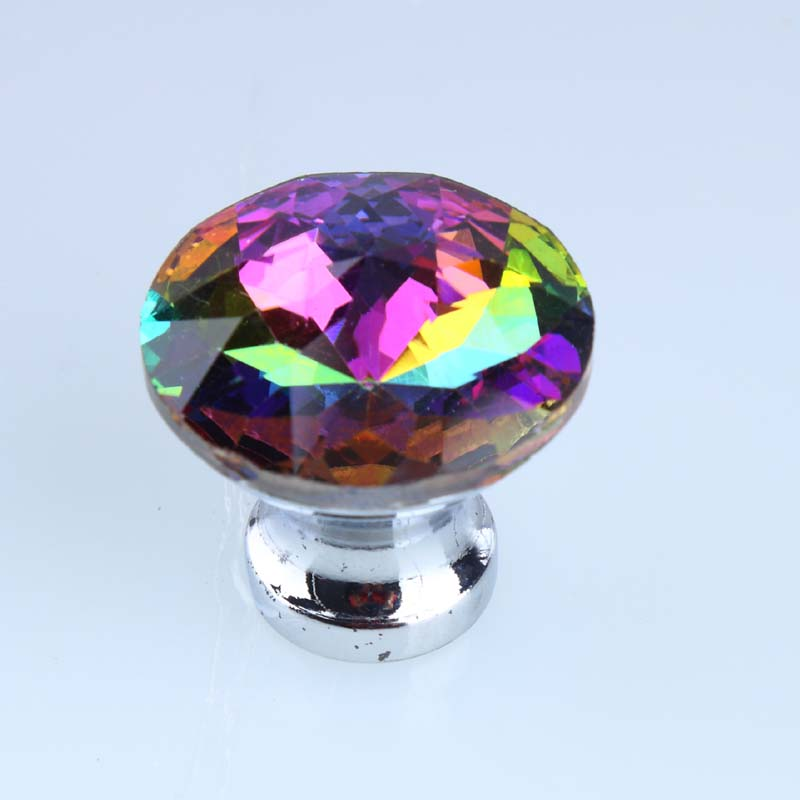 30mm Seven colour glass crystal drawer win cabinet knobs pulls ...