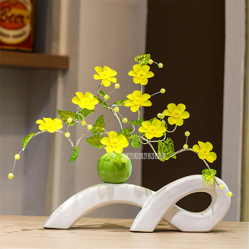 European Modern Creative Ceramic Vase Ornaments Artificial Flower Living Room Coffee Table Hotel Home Furnishing Decor D-9A/305