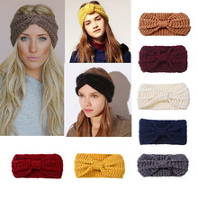 MISM Winter Solid Big Bow Knit Headband Girl Warm Woolen Crochet Turban Handmade Bow Ear Knitted Wide Head Wrap Hair Accessories(China)