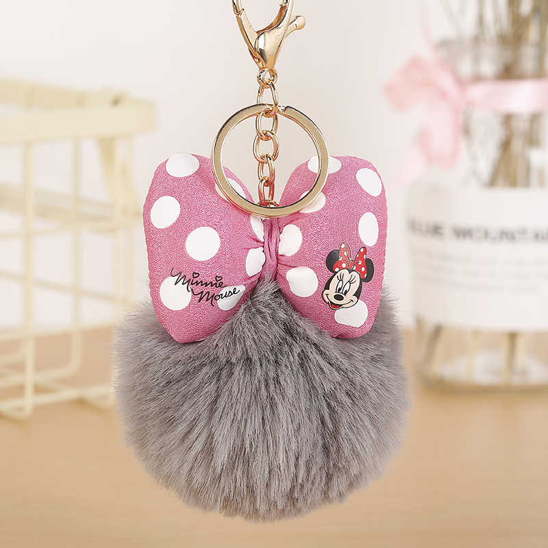 Moda coelho pele mickey pompon bola de pele macia bola chaveiro para feminino porta-chaves porta-chaves porte clef llaveros jóias 004wa