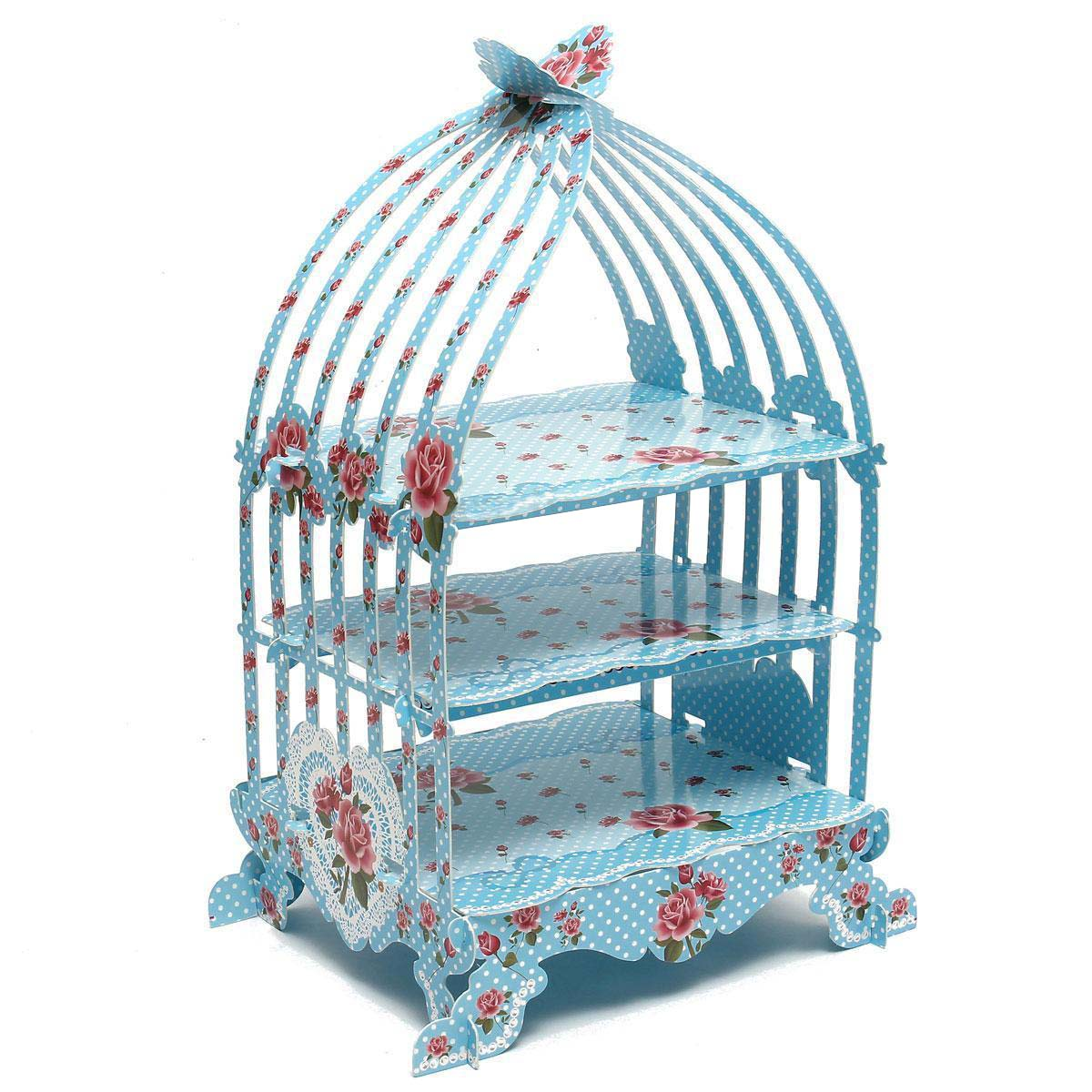 3 layers Birdcage Cupcake Cardboard Cake Stand Vintage Wedding Tea Party Display Holder Total Height approx 48.5cm