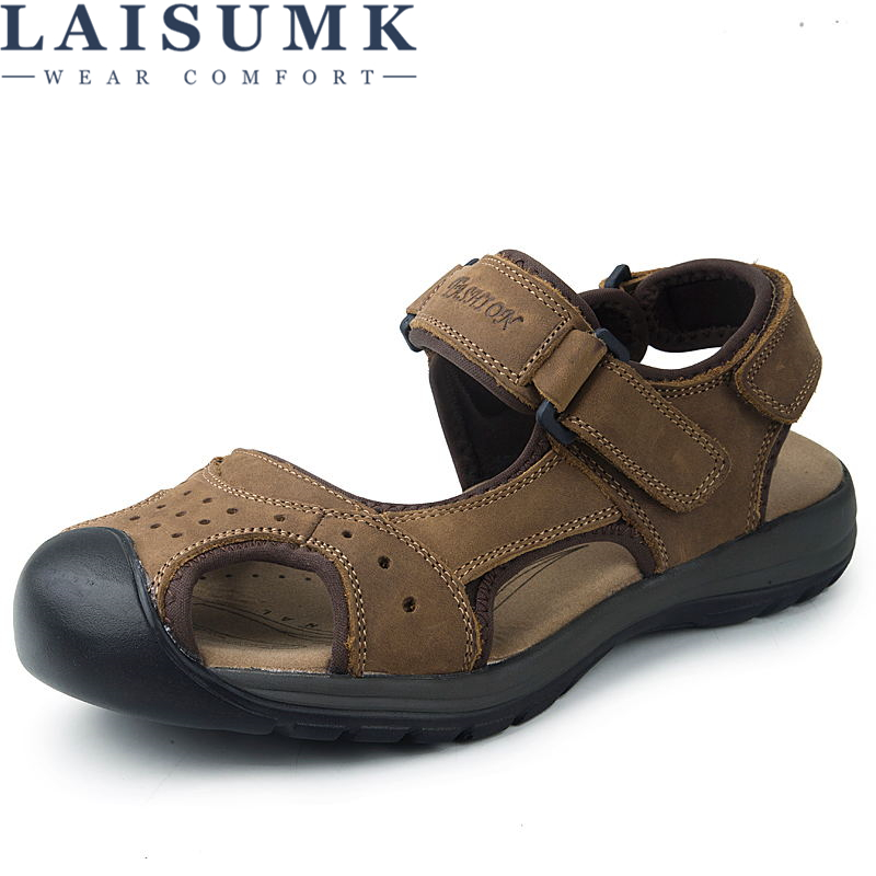 LAISUMK Brand Genuine Leather Summer Soft Male Sandals Shoes For Men Breathable Light Beach Casual Quality Walking Sandal