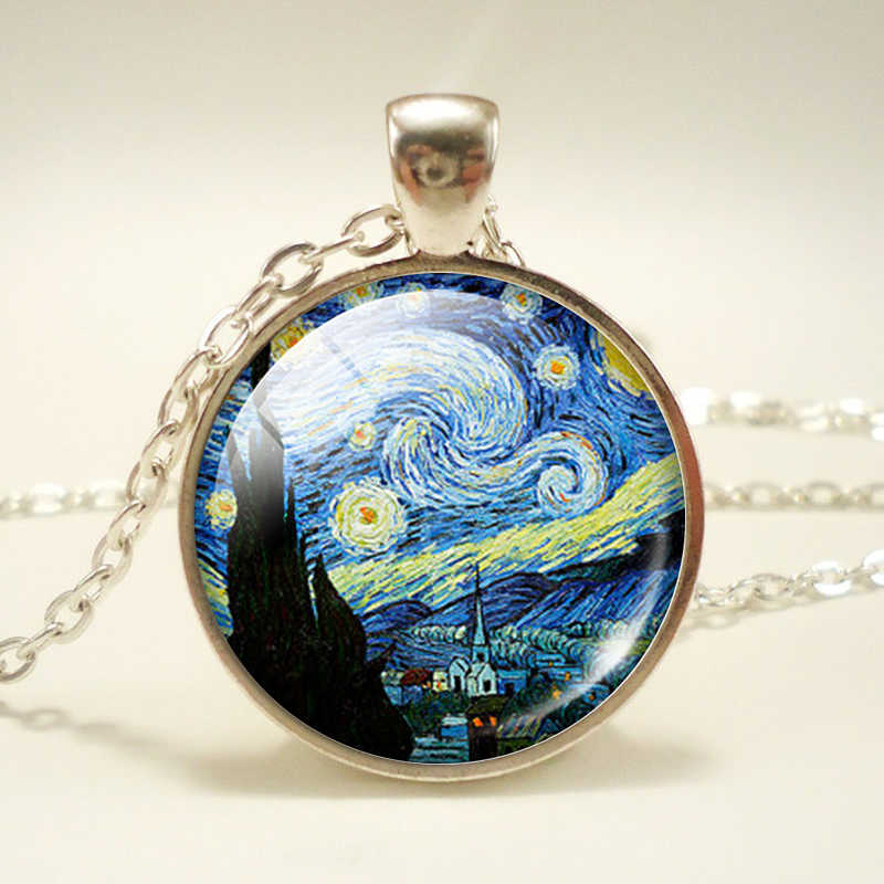 Cúpula de vidro do vintage noite estrelada van gogh pingente corrente colar arte imagem cabochão jóias artesanal presente de aniversário