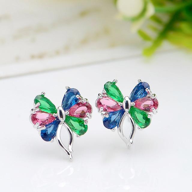 KOVTIA Fashion Rhinestone Stud Earrings For Women AAA Multicolour Zircon Butterfly Shape Earrings Bijoux brincos