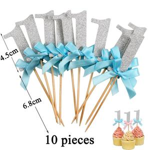 Image 2 - 12pcs First Happy Birthday Glitter Paper 1 Cupcake Toppers My 1st Party Decorations Kids One Year Baby Boy Girl Unicorn Supplies