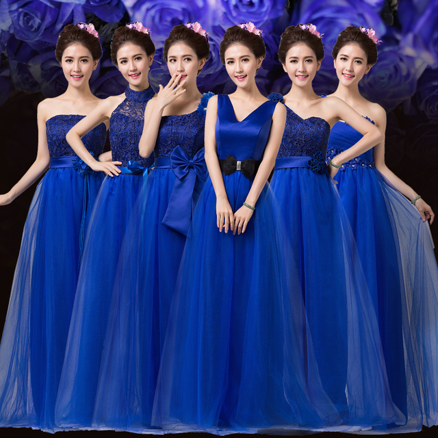Lc206m Royal Blue Bridesmaid Dress Long Tulle Lace Winter Sister Of The Bride