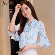 Jielur 8 Colors Lace Up Women Shirts Casual Korean Ladies Blouse Elegant Print Blusas Mujer Summer Top Haut Femme 3XL Dropship