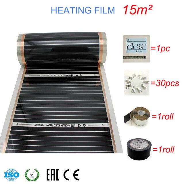 Lámina calefactora de carbono infrarroja, película de calentamiento de suelo caliente, buena salud, 50 80 100mm, lote de 15 m2