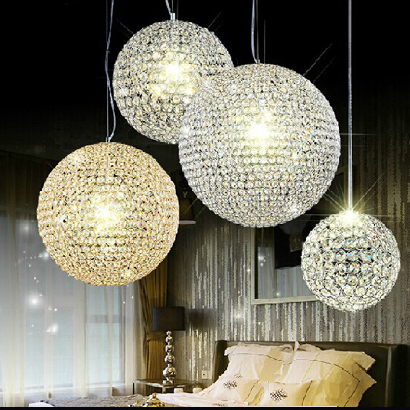 Crystal Ball Pendant Light Lights Lamp Gold Rain Drop Lighting Fixture Lamps K9 Dining Hanging Lamp Modern  Led Droplight egypt imported crystal 8 light pendant lights in ball shape chrome pl1040