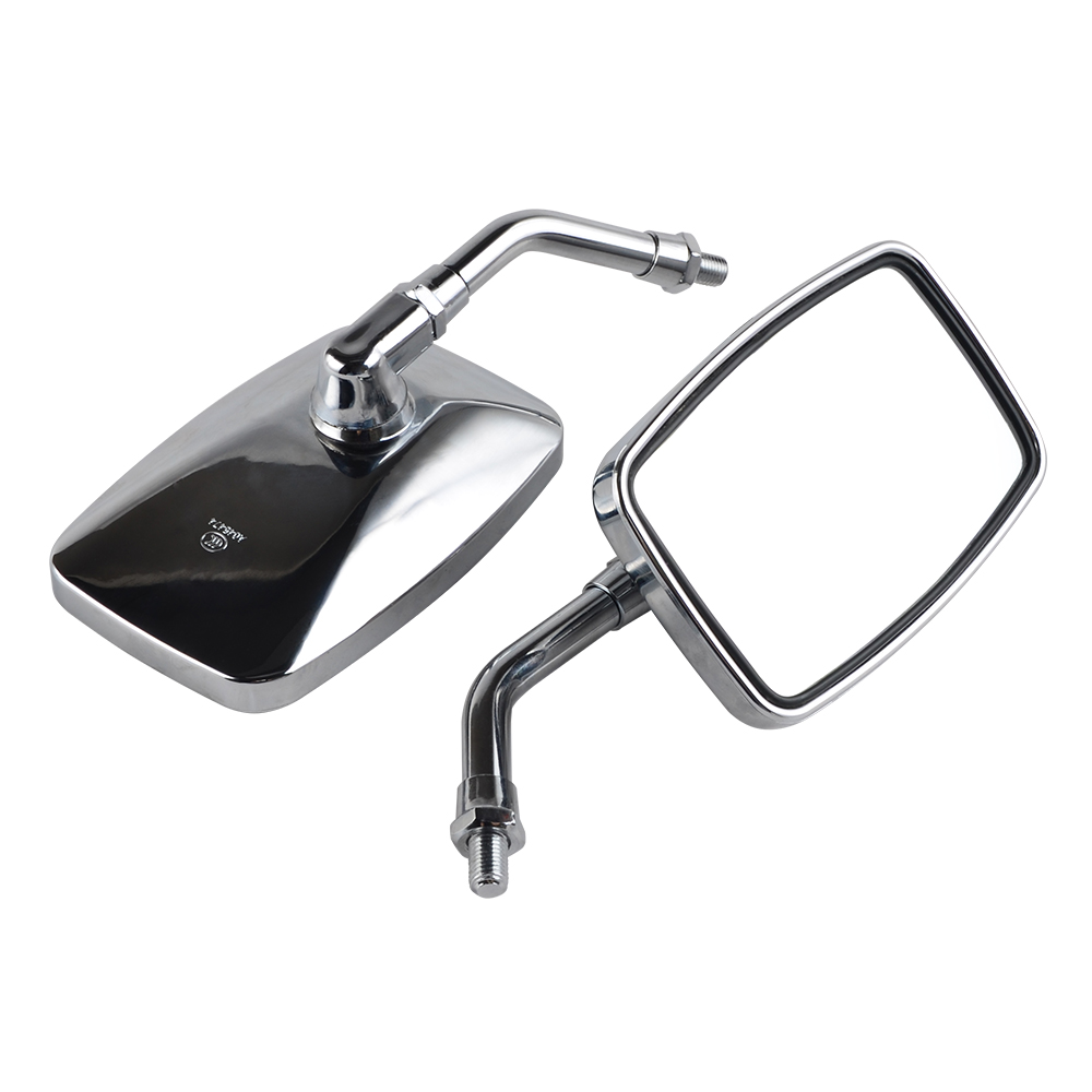 NICECNC 10mm Moto Chrome Mirrors Set For Kawasaki KZ1000 KZ650 KZ750 KZ900 KZ400 KZ1100 KZ1300 G1 G2 G3 G5 G7 ZN1300 ZG1200 H2 image