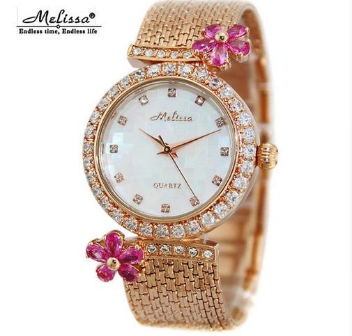 MELISSA Brand Romantic Crystal Flower Dress Watches Women Tassels Bracelet Wrist watch Japan Quartz Relogios Montre Femme F8190