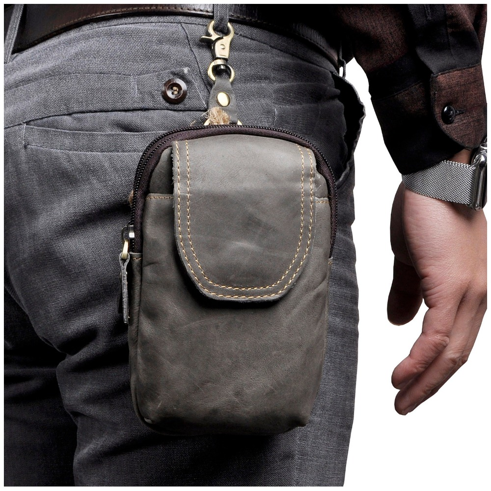 Real Leather Men Casual Design Small Waist Bag Pouch Cowhide Fashion Hook Waist Belt Pack Cigarette Case Phone Pouch 013