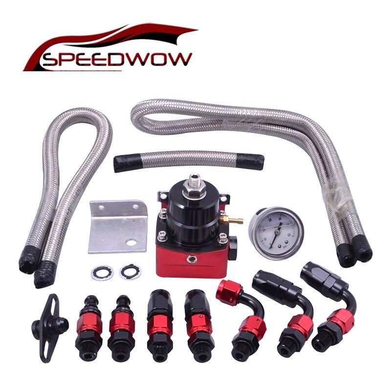 SPEEDWOW Adjustable Fuel Pressure Regulator Kit FRP Fuel Pressure Regulator With Gauge/6AN Hose/Oil Hose End Fitting Adapter racing fuel regulator delivery adapter